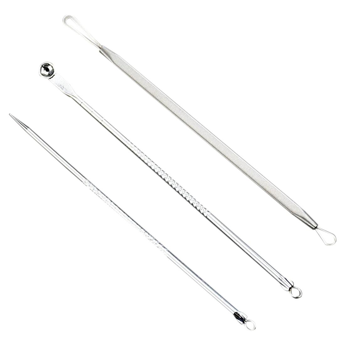 Stainless Steel Blackhead Pickel Spot Extractor Remover Tool Kit 3pcs Set