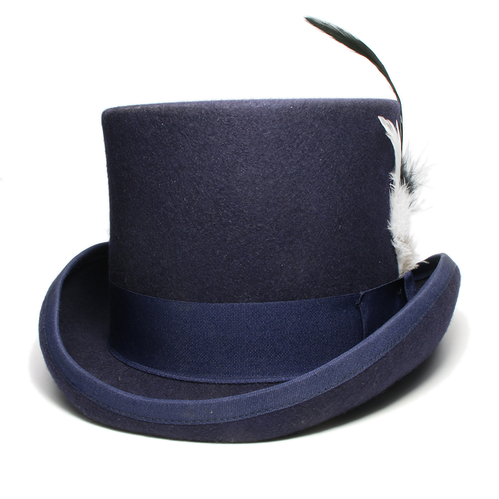 LUCKYLIANJI 4 Sizes Women's Men's Unisex's High Round Flat Top Feather Wool Felt Magician President Lincoln Gentleman Bowler Hat