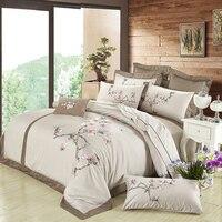 Коричневый роскошный Египетский хлопок наборы с вышиванием для спальни шелк чувство queen King size Цветочные дизайнер пододеяльник простыня наб