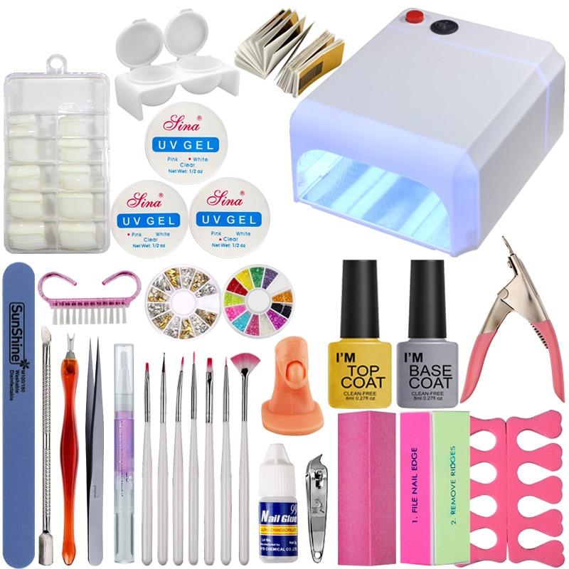 UV Gel Manicure Kit 36W UV Lamp Dryer Lamp for Nail Base Gel Vanishes Manicure Nail Extension Set Manicure Tools Kit