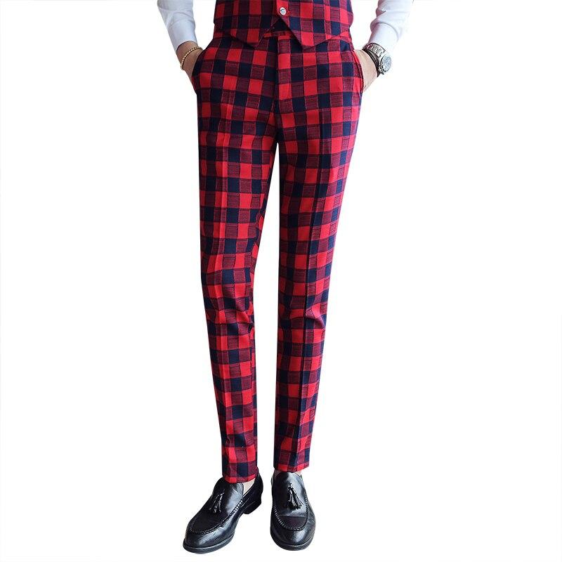 Vintage Men' Plaid Pants Casual Men Classic Check