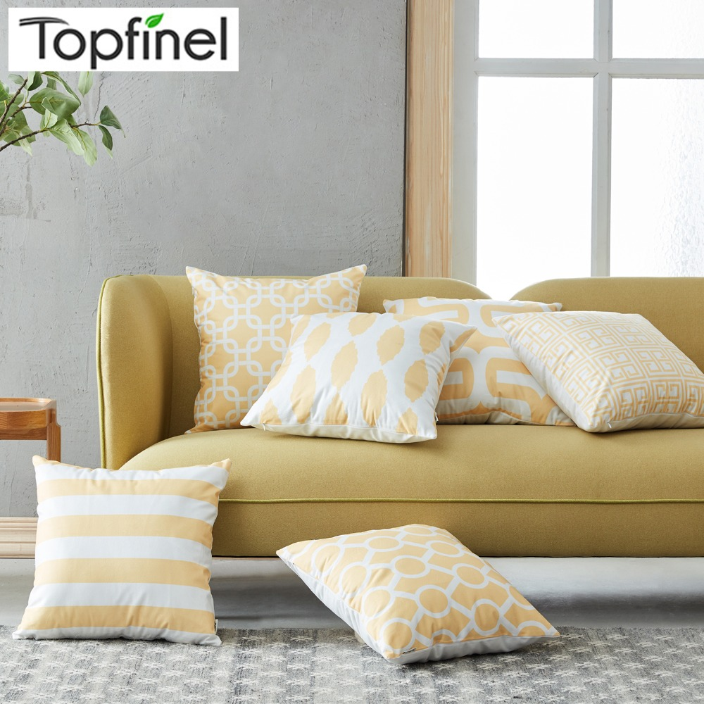 Topfinel Geometric Decorative Throw Pillow Cases Cushion Covers Yellow Color For Sofa Seat Chair Microfiber 45x45 Cm