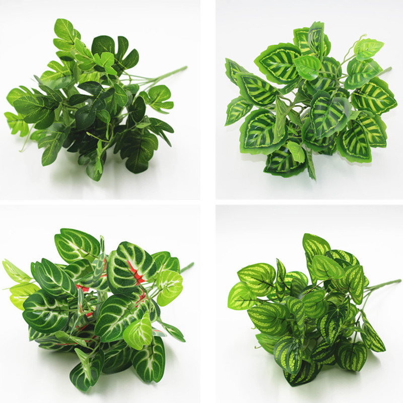 1pc Artificial Fake plant large Green purple watermelon Ombre Dovetail leaf fern leaf plant for home balcony wall mounted plant