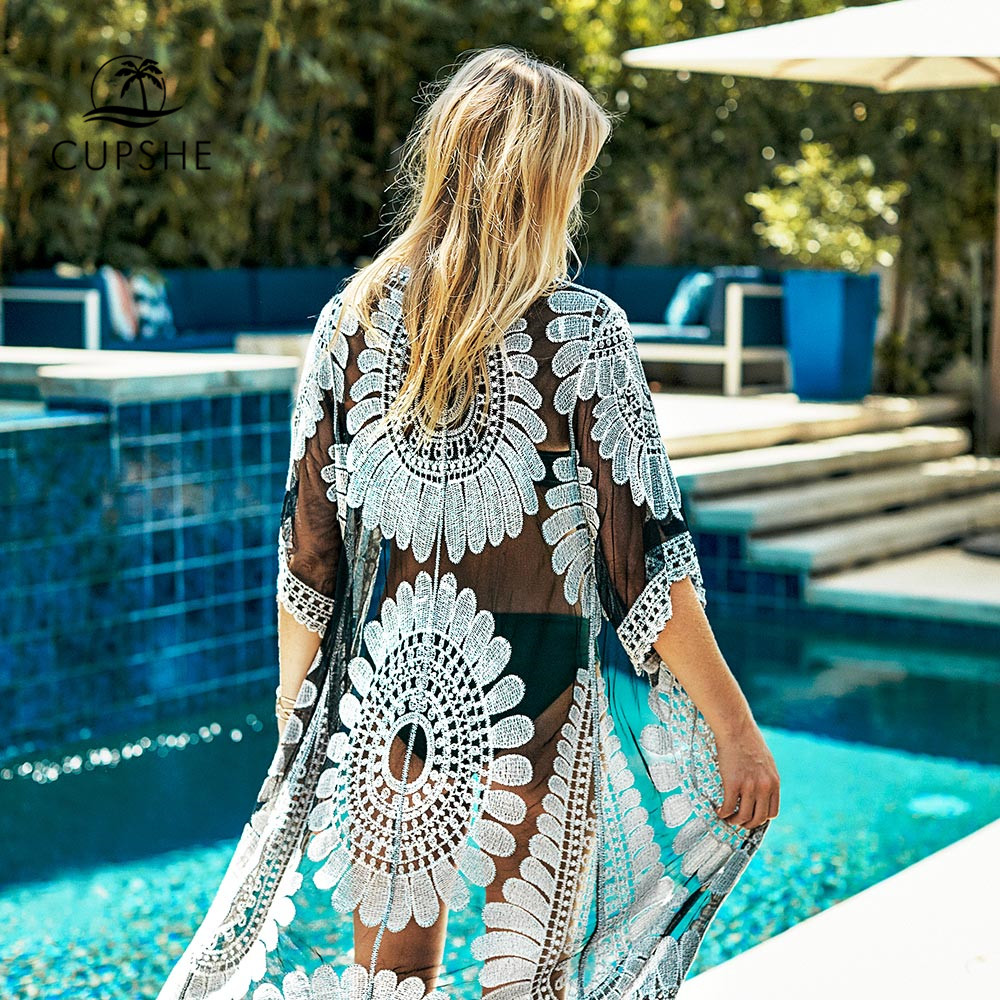 CUPSHE Black Sunflower Crochet Bikini Cover Up Sexy Swimsuit Beach Dress Women 2020 Summer Bathing Suit Beachwear Tunic Shirt