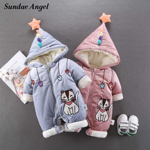 782cefa71 Tender Babies Newborn Baby Clothes Thicken Girl Boy Rompers Hooded ...