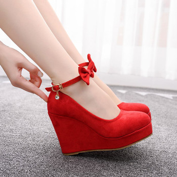 High Heels 2019 Red Bow Shoes Women Wedge Heels Flock Leather Pumps Spring Black Wedges Wedding Party Wedges Sandals Lady Shoes 1