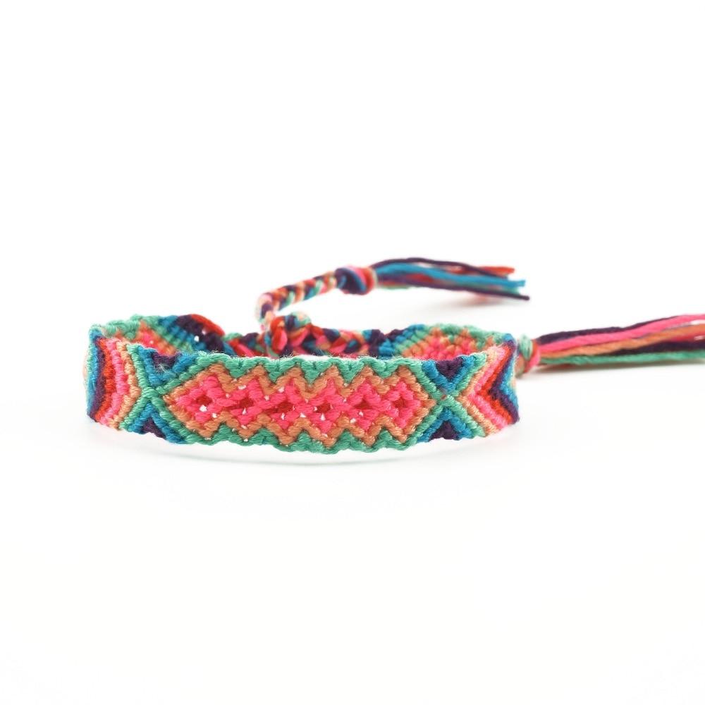 Boho Cotton Handmade Hippy Beaded Multilayer Hemp Rope Embroidery Bracelets