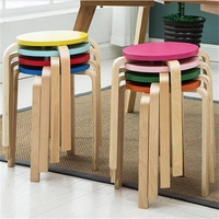 Wholesale Wooden Stool Modern Home Wooden Stool Living Room Dining Chair Hotel Cafe Bar Chair