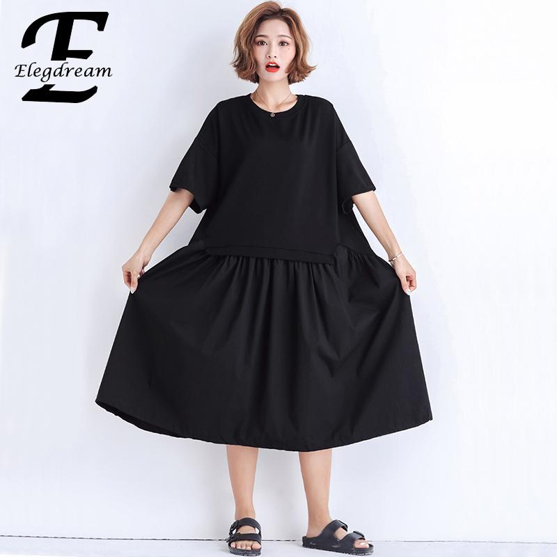 US $22.56 49% OFF|Elegdream Plus Size Women Apparel 2019 Summer Black Dress  Ladies Casual Loose Short Sleeve Midi Dresses Female Vestidos 4XL 3XL-in ...