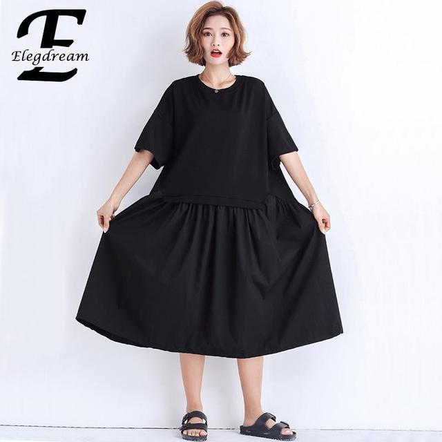Elegdream Plus Size Women Apparel 2019 Summer Black Dress Ladies ...