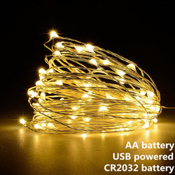 Гирляндовый светильник, светодиодная гирлянда, 1 м, 2 м, 5 м, 10 м, питание от USB, на батарейках, для улицы, теплый белый/RGB, фестиваль, Свадебная ве...