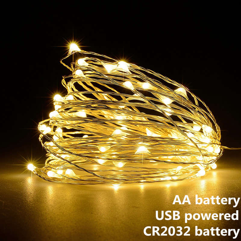Dây Đèn LED Vòng Hoa 1 M 2 M 5 M USB 10 M Chạy Bằng Pin Ngoài Trời Trắng Ấm/RGB lễ Hội Tiệc Cưới, Cổ Tích Ánh Sáng