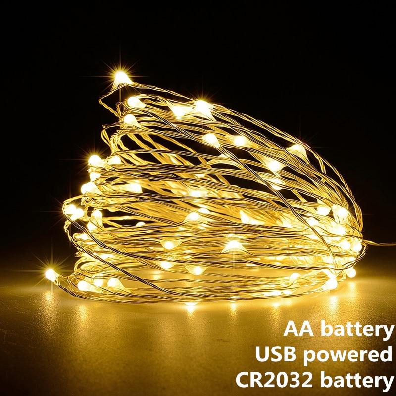 String Light Led Guirlande 1 M 2 M 5 M 10 M Usb Batterij Aangedreven Outdoor Warm Wit/Rgb festival Bruiloft Decoratie Fairy Light