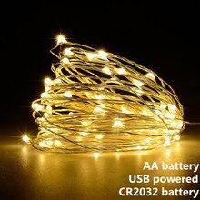 Гирлянда светодиодная с питанием от USB на батарейках, 1/2/5/10 м