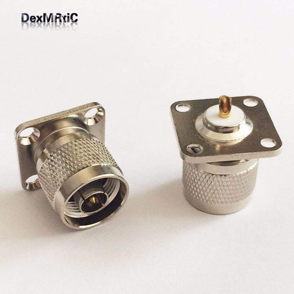 1pc  N  Male Plug  RF Coax Connector Adapter Straight,4-hole Panel Mount Chassis With Solder Cup Nickelplated  NEW Wholesale
