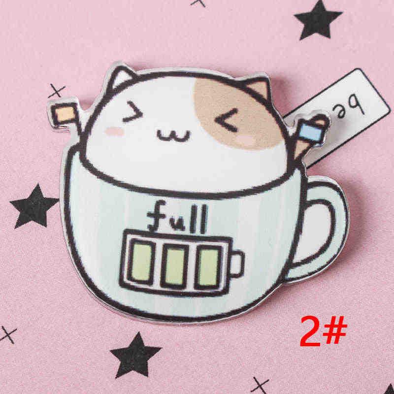 1 Pcs Mix De Kat Cups Cartoon Mix Hond Voor Kleding Acryl Badges Kawaii Pictogrammen Op De Rugzak Pin Broche badge Z67