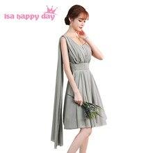 6e54fef947 Barato nueva moda gris de la longitud de la rodilla sexy chica de dama de honor  vestido fiesta adolescente Vestidos cortos bajo .