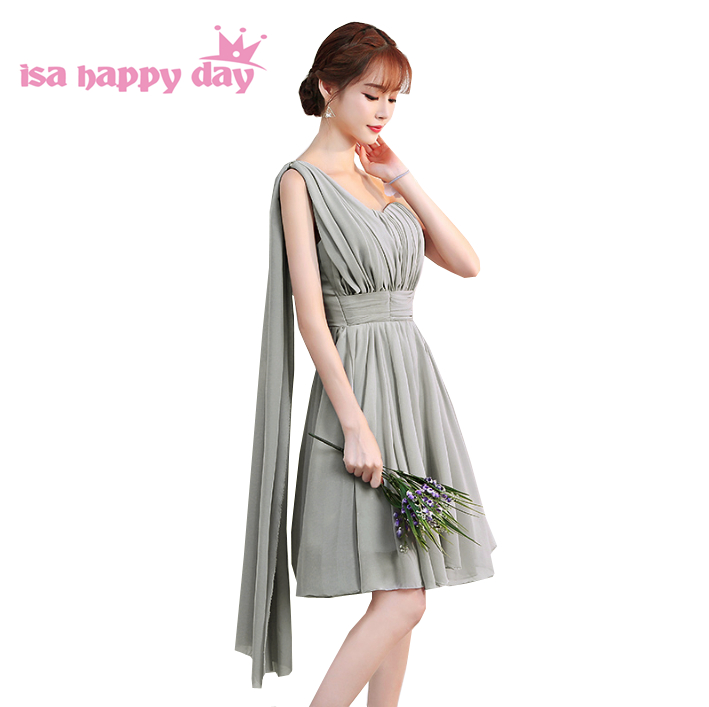 cheap new fashion grey knee length sexy girl   bridesmaid     dress   teen party   dresses   short under $50 for wedding guest H4128