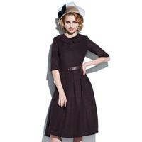 Sisjuly Vintage1950s 주름 드레스 봄/여름 옷깃 목선