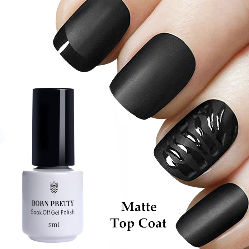 NACIDO PRETTY 5 ml Mate Top Coat Nail Gel Polish No Wipe Soak Off UV - Arte de uñas