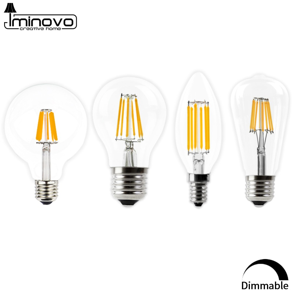 LED Filament Bulb E27  E14 Vintage Edison Lamp 220v 110v Retro Candle Light Globe Ampoule Lighting COB Home Decor DIMMABLE(China)