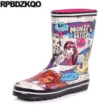 Дождь осень круглый носок Водонепроницаемый зимние сапоги 2017, Женская обувь милые слипоны короткие плоские Kawaii Обувь резиновые сапоги до середины икры мода мультфильм