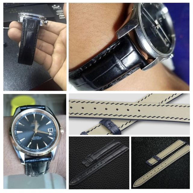 ZLIMSN Crocodile Leather Strap Hand-Stitched Fashion Quality Comfortable Waterproof Men's And Women Black Watch Band 12mm-26mm