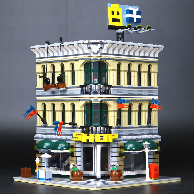 WAZ Compatible Legoe 10211 Lepin 15005 2232pcs City Grand Emporium Model building blocks bricks toys for children classic lele 30004 grand emporium creator architecture building blocks bricks toys diy for children model compatible with 10211