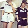 2 Piece Set Women Shorts And Top 2016 Summer Stlye Letter Printed Tracksuits Women 2 piece set Crop Top And Shorts Sets