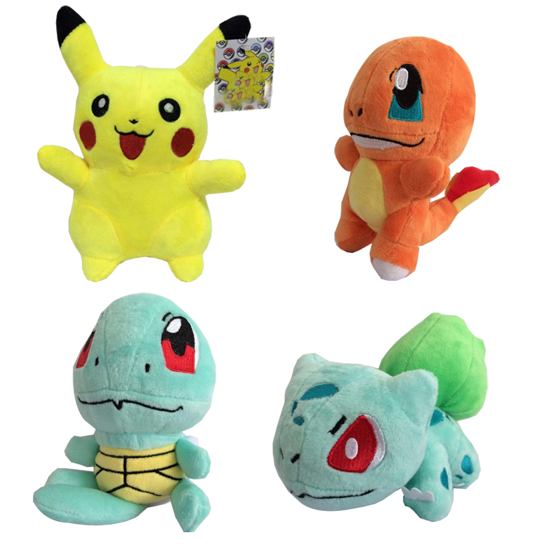 Cartoon Plush Toys Pikachu Bulbasaur Squirtle Charmander Figure Toy Cartoon Soft Stuffed Animals Dolls Gifts cute animals figure dolls finger puppets plush toys 10 pcs
