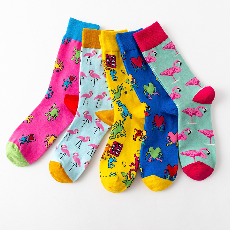 5 Pair/set Fashion Funny Happy Hip Hop Marvel Socks Harajuku Men Socks Cartoon Animal Printed Crew Socks Combed Cotton