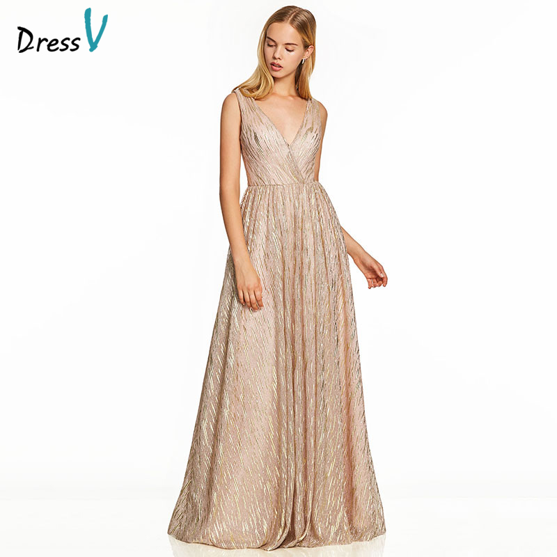 Dressv Pink Long Evening Dress Gilding Backless Cheap V Neck Wedding Party Formal Dress A Line Tulle Evening Dresses