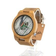 BOBO H15 de AVES De Bambú caja De Pulsera de Madera pintura Blanca Dial Verde Expuestos Manos Movimiento de Cuarzo Reloj reloj hombre 2016