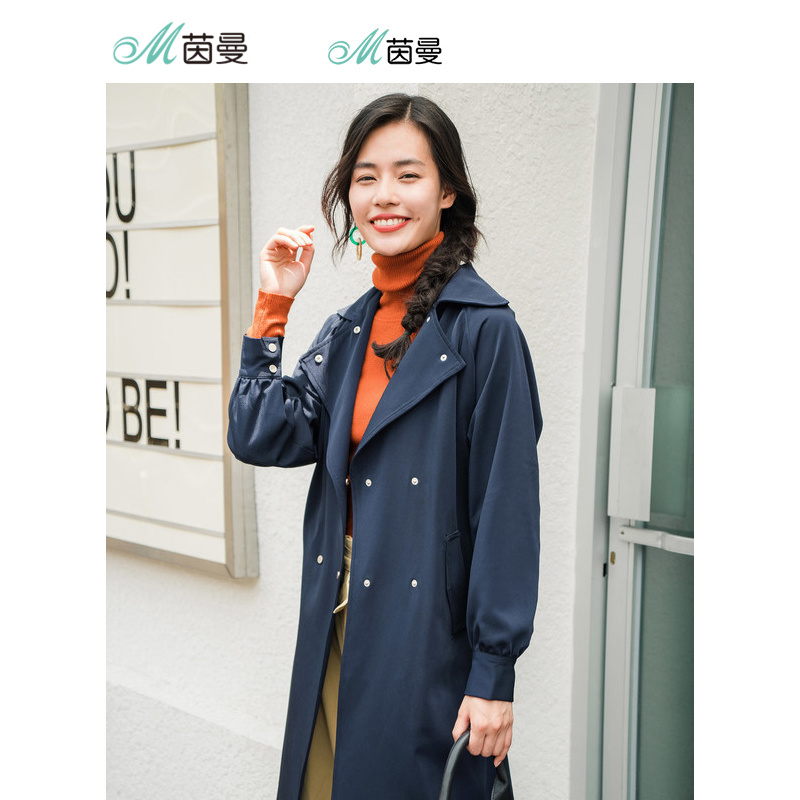 INMAN 2018 New Arrival Turn Down Collar Waist Belt Loose Style Long Sleeve Women   Trench   Coat