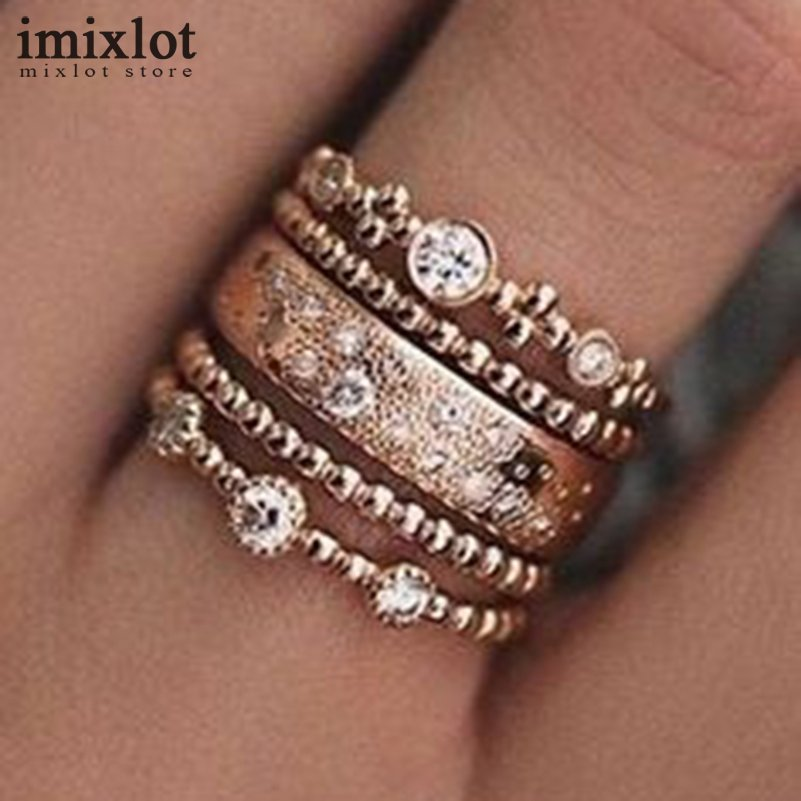 Women 5pcs/set Vintage Finger Ring Set Antique Gold Crystal Rhinestone Circle Knuckle Midi Ring Bohemian Jewelry