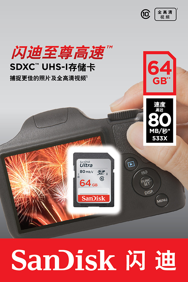 Free shipping SanDisk Ultra SD card 64GB Class 10 SD SDHC SDXC Memory Card C10 80MB/s for camera , camcorders and computer