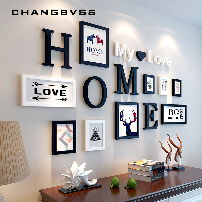 Nordic Style 9PCS/set Wooden Photo Frame Picture Frame with Home Letters Pattern For Wall Decoration Creative Frame Combination  interior design