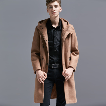 Luxury Wool Overcoat Men With Hooded Hight Quality Solid Color Zipper Pocket Long Style Mens Coats And Jackets Plus Size 5xl 6xl
