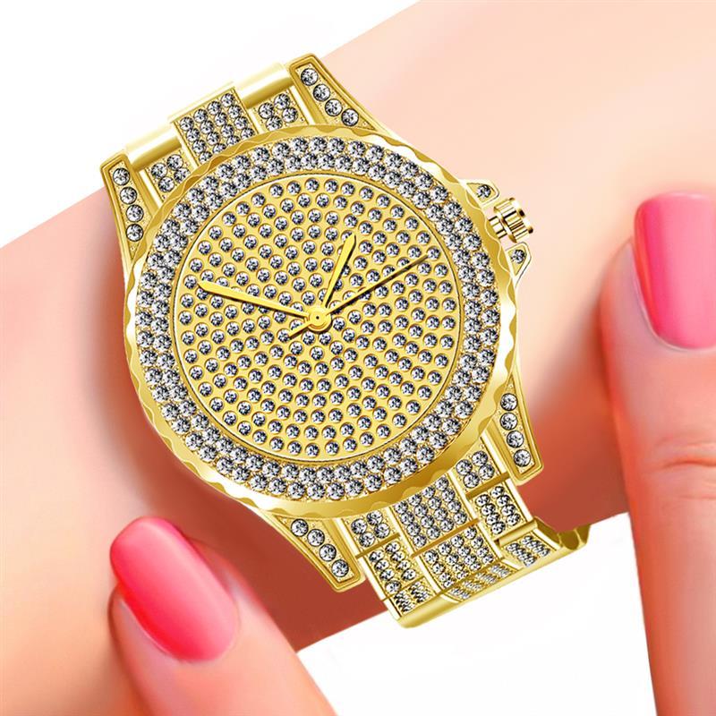 Bling Bling Diamond Watch For Women Luxury Brand Minimalism Simple Stainless Steel Quartz Wristwatch Ladies Bracelet Watches