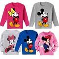 2015 fashion kids casual wear childrens clothing summer baby boys gilrs cotton cartoon mickey minnie long sleeve t-shirt