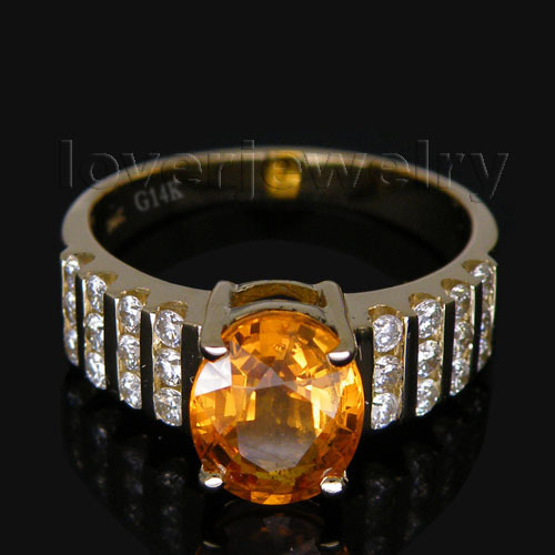 Vintage Oval 7x9mm Solid 14Kt Yellow Gold Natural Diamond Wedding Sapphire Ring G090423 new vintage 14kt rose gold diamond kunzite ring wedding ring oval 10x17mm r00324