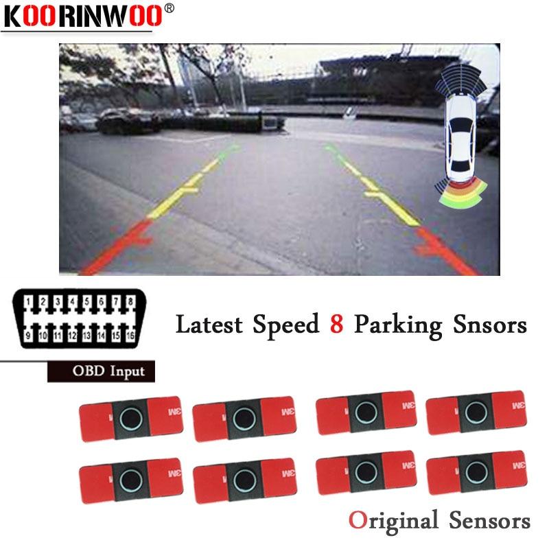 Koorinwoo Parktronics Frente Velocidade OBD Carro Sistema de Sensores de Estacionamento de Entrada 8 Sonda de Alarme Buzzer OBD para Controlar a Velocidade de Vídeo Retrovisor