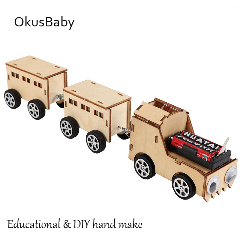 DIY Children Eductaional Wood Train Toys Handcraft Model Assemble Toys Set Electric Plane Student Learning Color Painting Toys