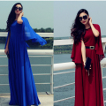 Free Shipping 2017 Fashion Women's Elegant Cape Full Dress Long Design Expansion Bottom One-Piece Dress
