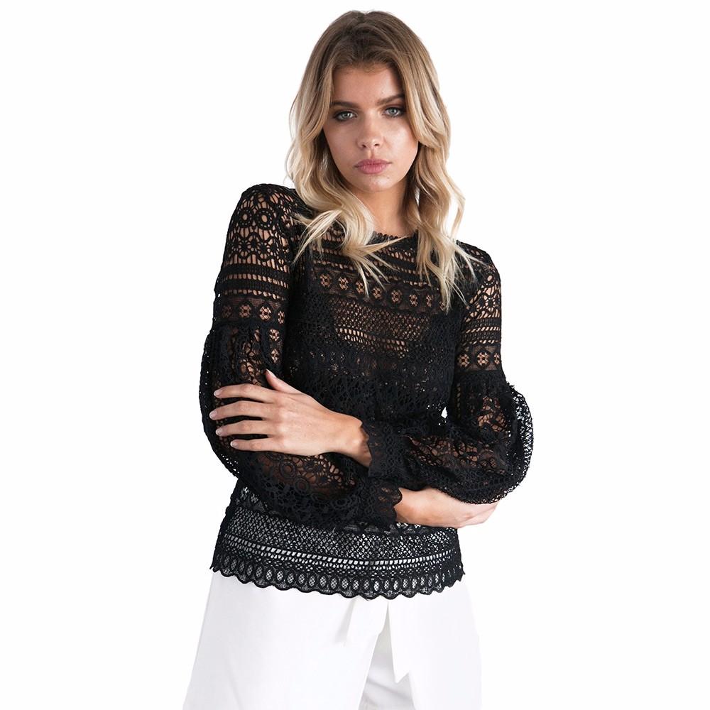 VESTLINDA Sexy Lace Hollow Out Blouse Shirt Women Blusas Feminina 2017 O Neck Lantern Sleeve Blusa Ladies Elegant Lace Blouse 18