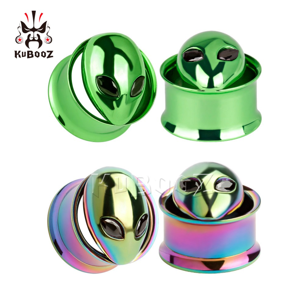 KUBOOZ Screw Ear Plugs Tunnel Piercing Ring Gauges Copper Alice Stainless Steel Body Jewelry Earrings Fashion Gift 2pcs 0G 00G