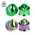 KUBOOZ Screw Ear Plugs Tunnel Piercing Ring Gauges Copper Alice Stainless Steel Body Jewelry Earrings Fashion Gift 2pcs 0G 00G