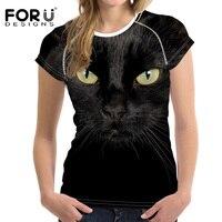 FORUDESIGNS 3D Black Cat T Shirt Women Summer Tops Tees Lovely Dog Owl T Shirt Women
