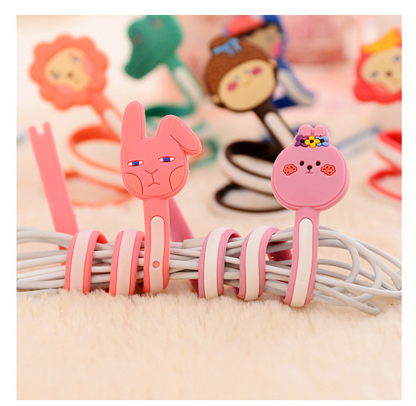 50pcs/lot Wholesale Cute Animals Cable Winder Clip Earphone Winder Earbud Silicone Cable Cord Holder for Samsung Headphone