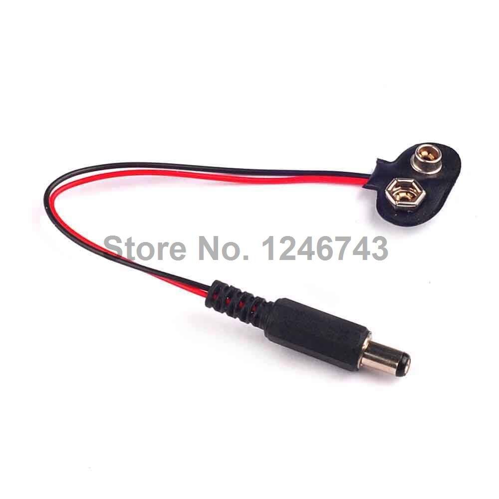 1PCS 10CM DC 9V 5.5*2.1mm Battery Button Power Plug T Shape
